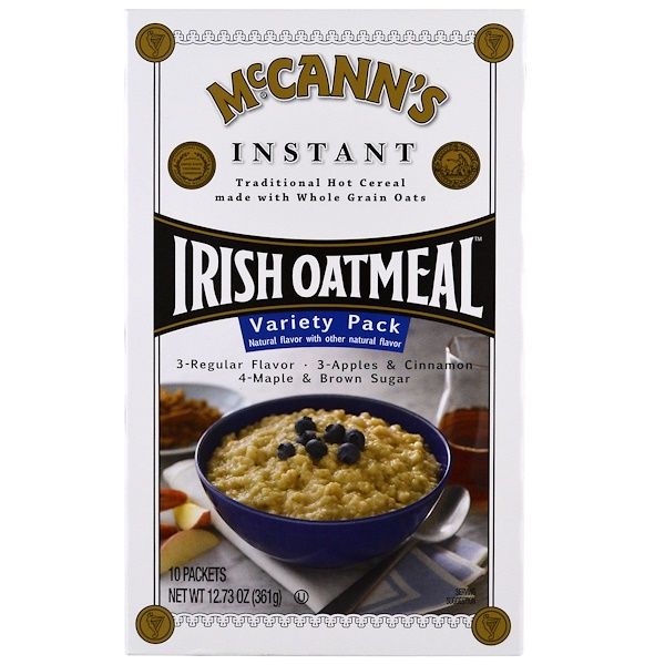 McCann's Irish Oatmeal, Instant Oatmeal, Variety Pack, 3 Flavors, 10 Packets (Discontinued Item)