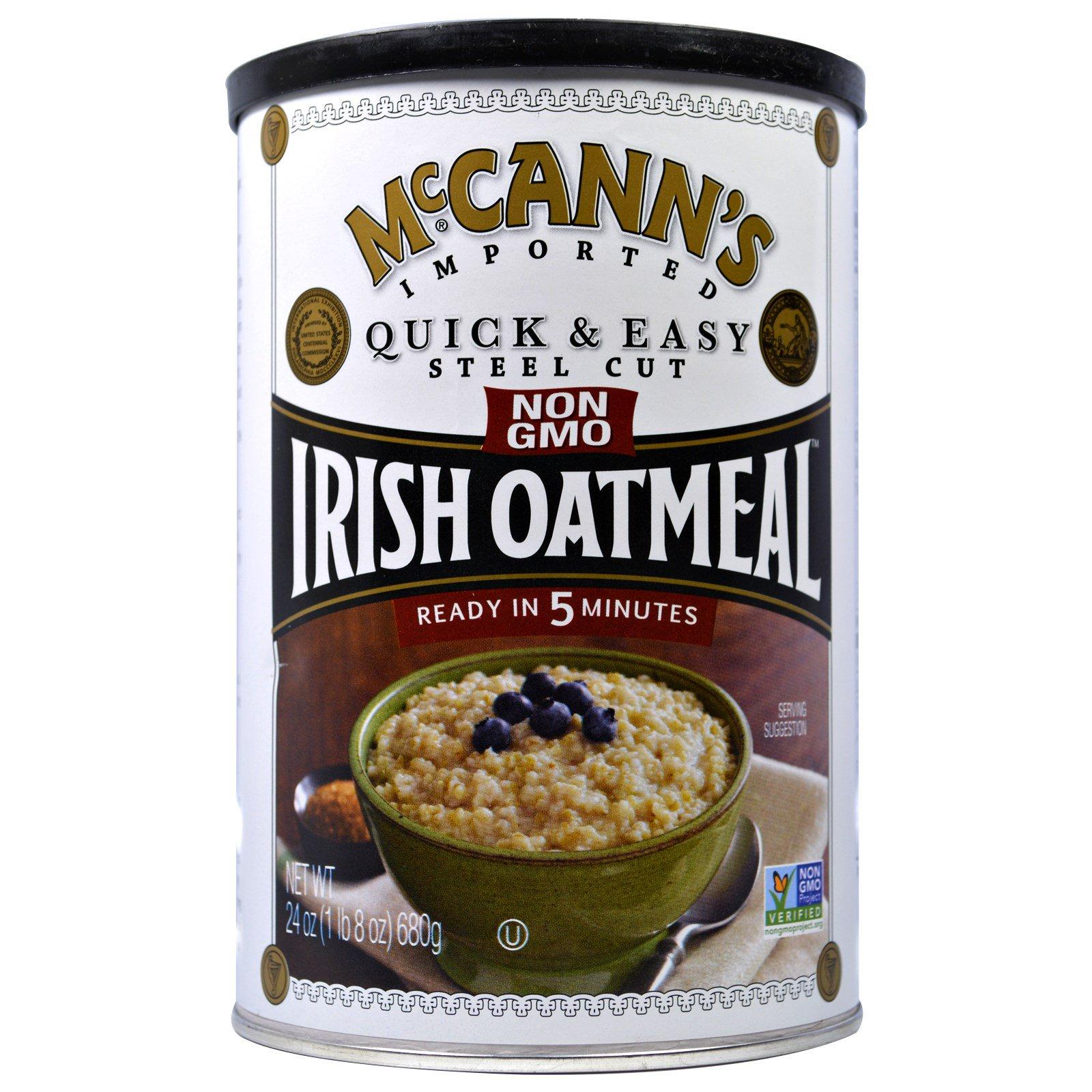 McCann's Irish Oatmeal, Быстрая и легкая молотая ирландская овсянка, 24 унции (680 г)