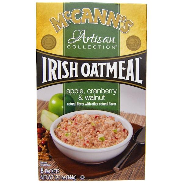 McCann's Irish Oatmeal, アルチザンコレクション、アイリッシュオートミール、 アップル、 クランベリー &クルミ、 8パック、 各43 g (Discontinued Item)