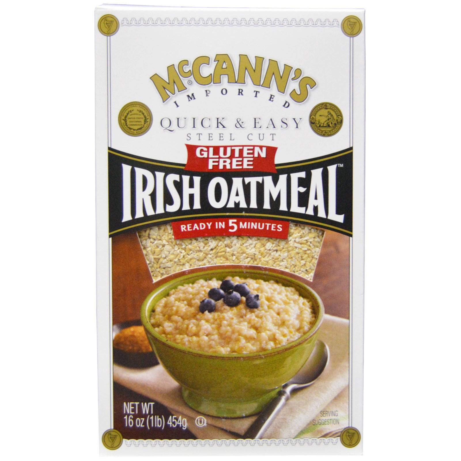 "McCann's Irish Oatmeal, ""Стил Кат"", ирландская овсянка, быстро и легко, без глютена, 16 унций (454 г)"