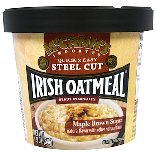 McCann's Irish Oatmeal, Quick & Easy Steel Cut, Maple Brown Sugar, 1.9 oz (54 g)