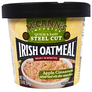 McCann's Irish Oatmeal, Quick & Easy Steel Cut, Apple Cinnamon, 1.9 oz (54 g)