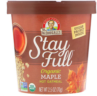 Dr. McDougall's, Stay Full, Organic Hot Oatmeal, Maple, 2.5 oz (70 g)