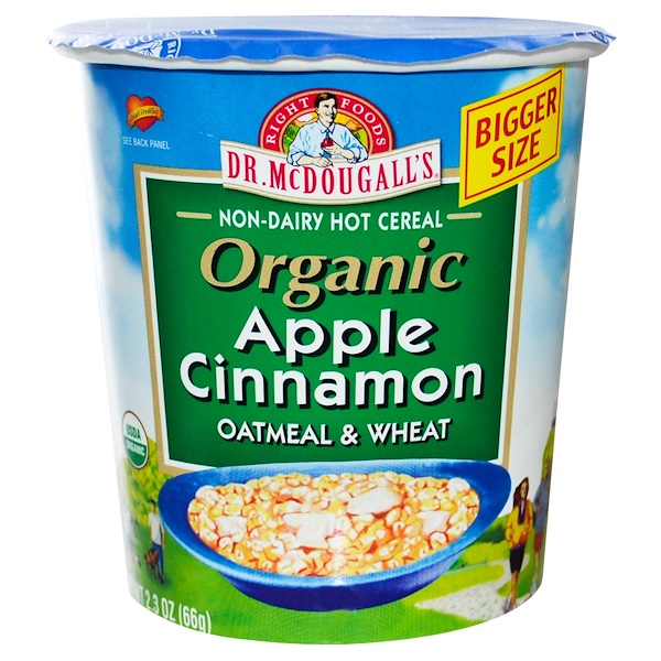 Dr. McDougall's, Organic Oatmeal & Wheat, Apple Cinnamon, 2.3 oz (66 g) (Discontinued Item)