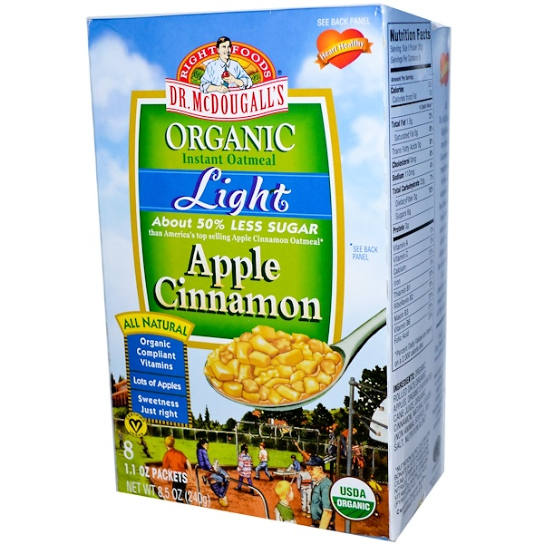 Dr. McDougall's, Organic Light Instant Oatmeal, Apple Cinnamon, 8 Packets, 1.1 oz Each (Discontinued Item)