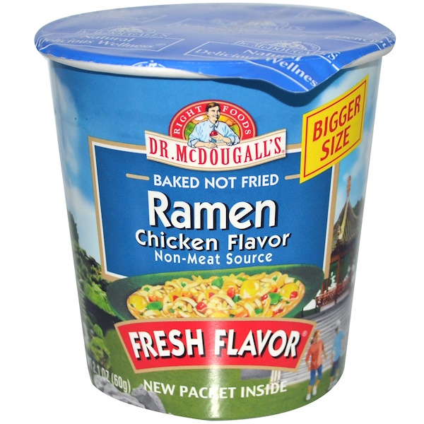 Dr. McDougall's, Baked Not Fried Ramen, Chicken Flavor, 2.1 oz (60 g) (Discontinued Item)