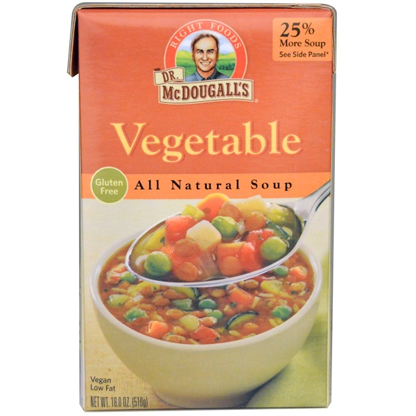 Dr. McDougall's, All Natural Soup, Vegetable, 18.0 oz (510 g) (Discontinued Item)
