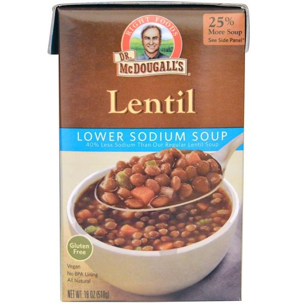 Dr. McDougall's, Lower Sodium Soup, Lentil, 18 oz (510 g) (Discontinued Item)