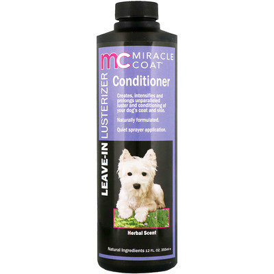 Купить Miracle Care Miracle Coat, Leave-In Lusterizer Conditioner, For Dogs, Herbal Scent, 12 fl oz (355 ml)