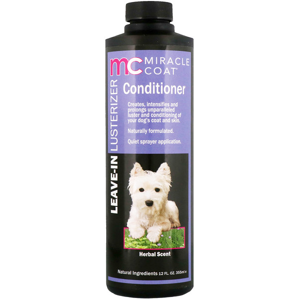 Miracle Care, Miracle Coat, Leave-In Lusterizer Conditioner, For Dogs, Herbal Scent, 12 fl oz (355 ml)