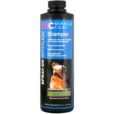 Купить Miracle Care Miracle Coat, Spray-On Waterless Shampoo, For Dogs, Meadow Fresh Scent, 12 fl oz (355 ml)