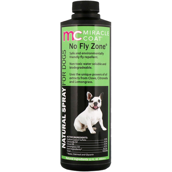 Miracle Care, Miracle Coat, Natural Spray For Dogs, No Fly Zone, 12 fl oz (355 ml) (Discontinued Item)