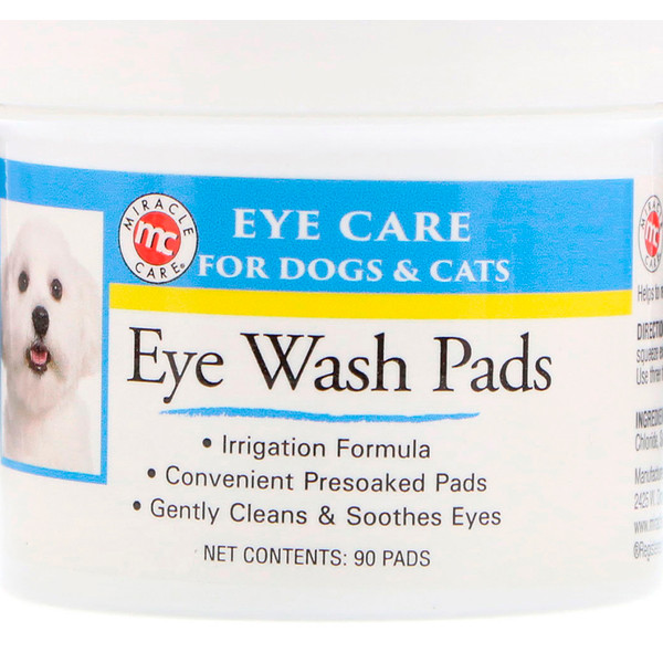 Miracle Care, Eye Care, Eye Wash Pads, For Dogs & Cats, 90 Pads (Discontinued Item)