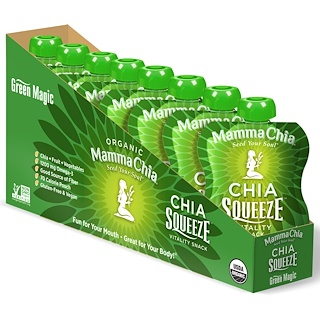 Mamma Chia, Organic Chia Squeeze Vitality Snack, Green Magic, 8 Pouches, 3.5 oz (99 g) Each