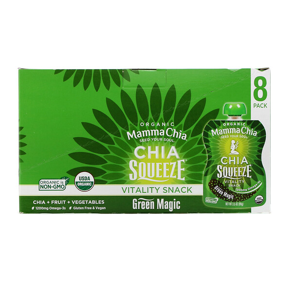 Organic Chia Squeeze, Vitality Snack, Green Magic, 8 Squeezes, 3.5 oz (99 g) Each