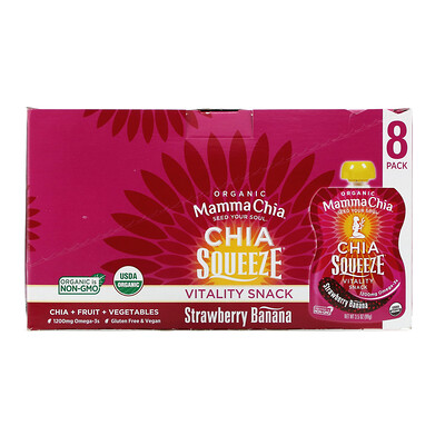 Organic Chia Squeeze, Vitality Snack, Strawberry Banana, 8 Squeezes, 3.5 oz (99 g) Each