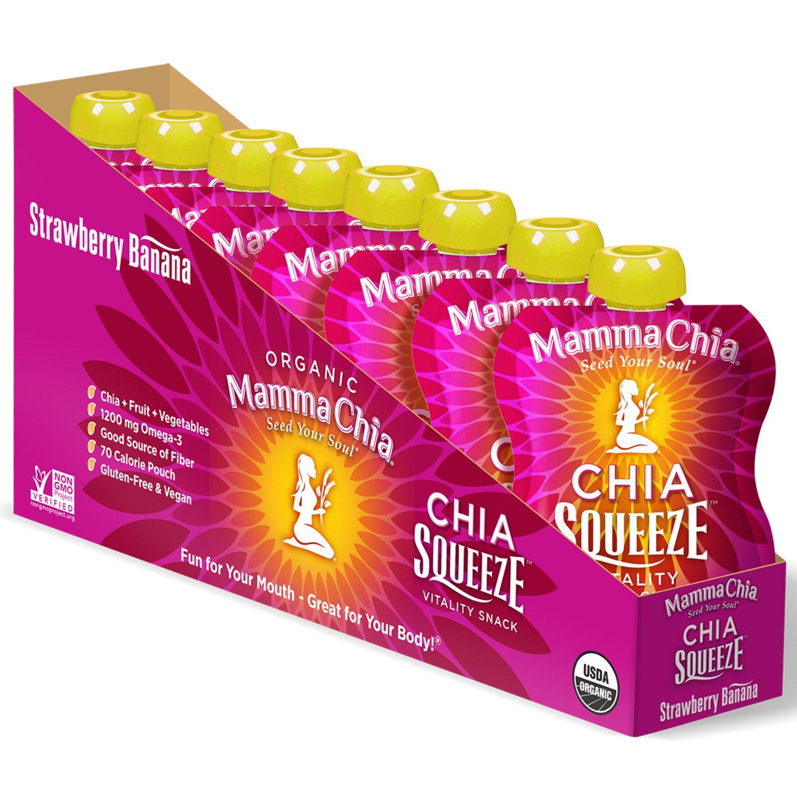 Mamma Chia, Органическая закуска с чиа, клубника и банан, 8 шт, 3,5 унции (99 г) каждая