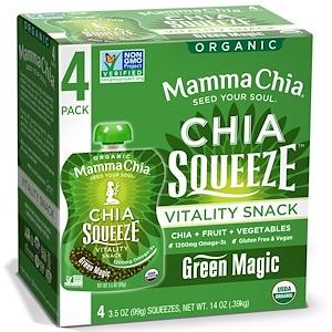 Мамма Чиа, Organic Chia Squeeze, Vitality Snack, Green Magic, 4 Squeezes, 3.5 oz (99 g) Each отзывы