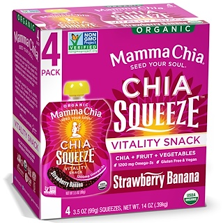 Mamma Chia, Organic Chia Squeeze, Vitality Snack, Strawberry Banana, 4 Squeezes, 3.5 oz (99 g) Each