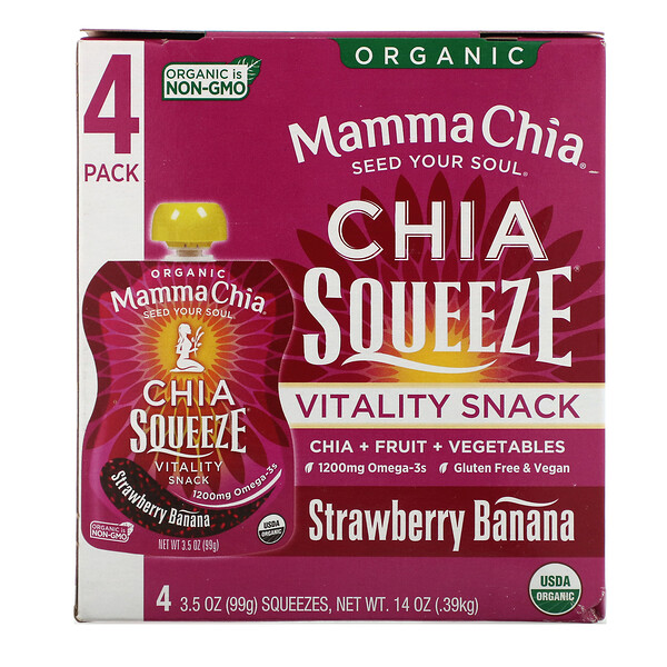 Organic Chia Squeeze, Vitality Snack, Strawberry Banana, 4 Squeezes, 3.5 oz (99 g) Each