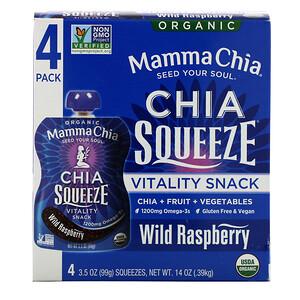 Мамма Чиа, Organic Chia Squeeze, Vitality Snack, Wild Raspberry, 4 Squeezes, 3.5 oz (99 g) Each отзывы