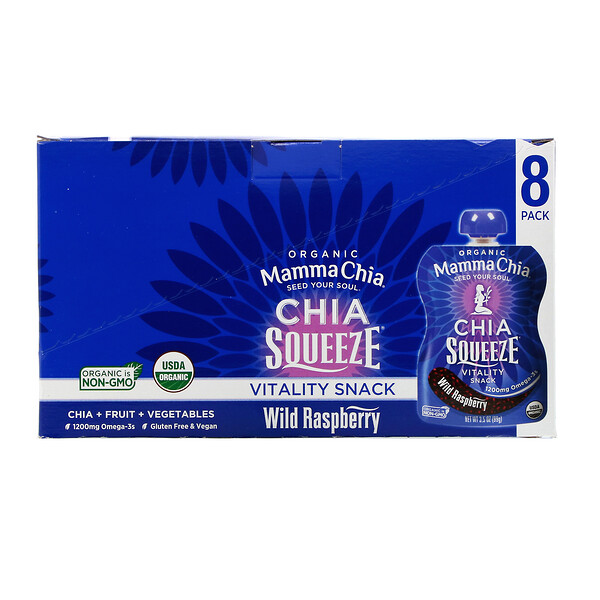 Organic Chia Squeeze, Vitality Snack, Wild Raspberry, 8 Squeezes, 3.5 oz  (99 g) Each