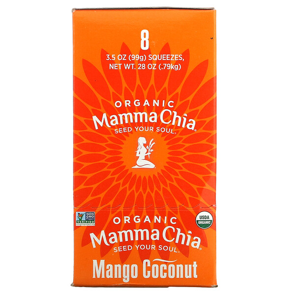 Mamma Chia, Organic Chia Squeeze, Vitality Snack, Mango Coconut, 8 Squeezes, 3.5 oz (99 g) Each (Discontinued Item)