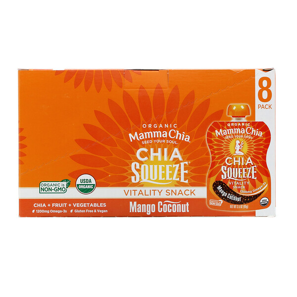 Organic Chia Squeeze, Vitality Snack, Mango Coconut, 8 Squeezes, 3.5 oz (99 g) Each