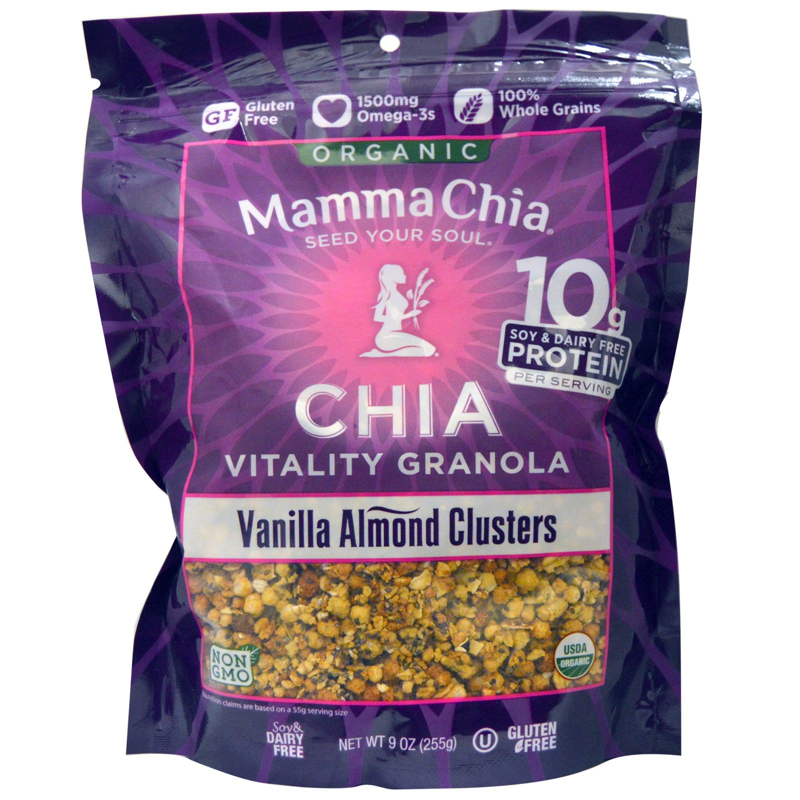 Mamma Chia, Органическая гранола чиа для жизненной силы, кусочки ванильного миндаля, 9 унций (255 г)