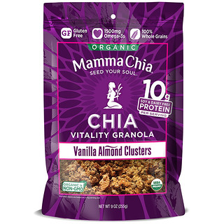 Mamma Chia, Organic Chia Vitality Granola, Vanilla Almond Clusters, 9 oz (255 g)
