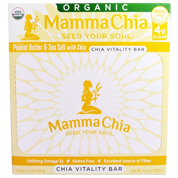 Mamma Chia, Organic Chia Vitality Bar, Peanut Butter & Sea Salt with Chia, 12 Bars, 1.2 oz (35 g) Each (Discontinued Item)