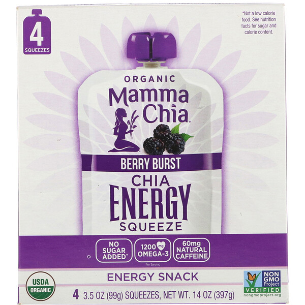 Organic Chia Energy Squeeze, Berry Burst, 4 Pouches, 3.5 oz (99 g) Each