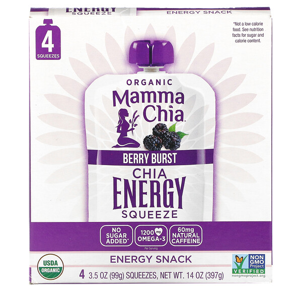 Mamma Chia, Organic Chia Energy Squeeze, Berry Burst, 4 Pouches, 3.5 oz (99 g) Each (Discontinued Item)