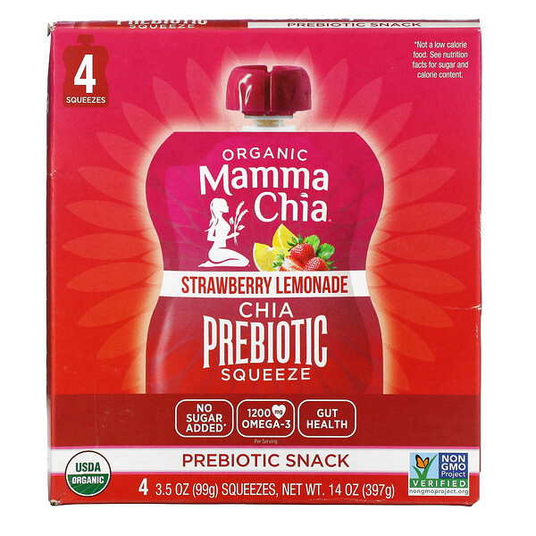 Mamma Chia, Organic Chia Prebiotic Squeeze, Strawberry Lemonade, 4 Squeezes, 3.5 oz (99 g) Each (Discontinued Item)