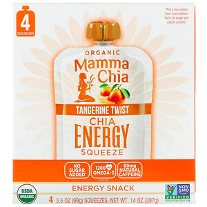 Мамма Чиа, Organic Chia Energy Squeeze, Tangerine Twist, 4 Pouches, 3.5 oz (99 g) Each отзывы