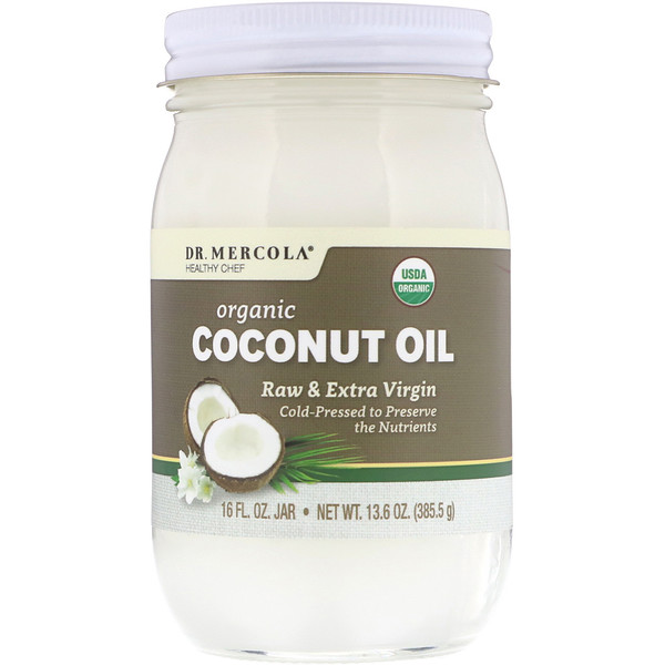 Dr. Mercola, Organic Raw & Extra Virgin Coconut Oil, 13.6 oz (385.5 g)