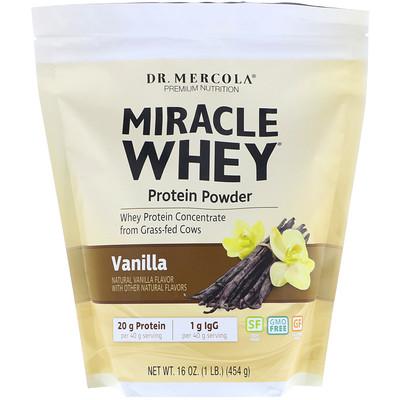 Купить Dr. Mercola Премиум добавки, чудесный сывороточный протеин в порошке с ванильным вкусом, 454 г
