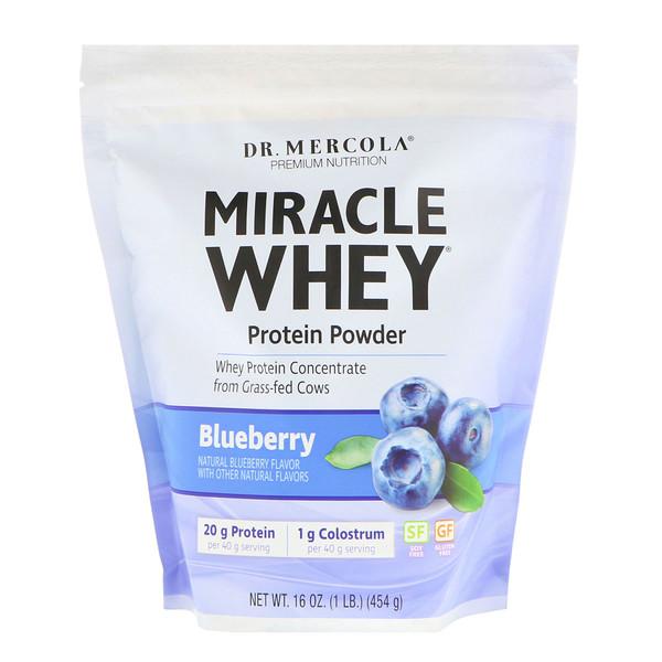 Dr、 Mercola, 高級補充劑,神奇乳清蛋白粉,藍莓口味,1磅(454克)