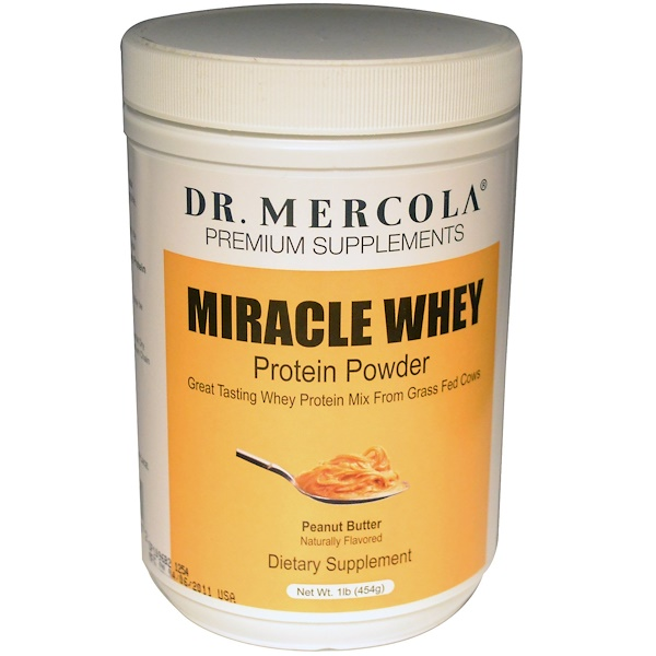 Dr. Mercola, Premium Supplements, Miracle Whey, Protein Powder, Peanut Butter, 1 lb (454 g) (Discontinued Item)