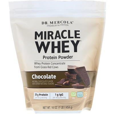 Купить Dr. Mercola чудесный сывороточный протеин в порошке со вкусом шоколада, 454 г