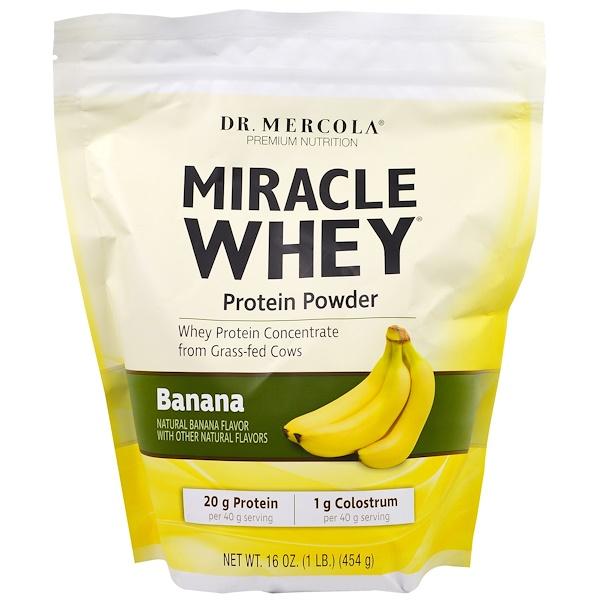 Dr. Mercola, Premium Nutrition, Miracle Whey, Protein Powder, Banana, 16 oz (454 g) (Discontinued Item)