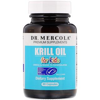 Dr. Mercola, 子供用クリルオイル、60カプセル