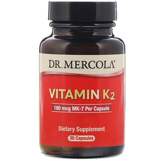 Dr. Mercola, ビタミンK2、180mcg、カプセル30粒