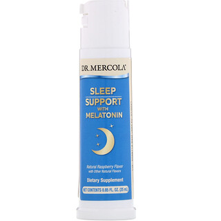 Dr. Mercola, Sleep Support with Melatonin, Natural Raspberry Flavor, 0.85 fl oz (25 ml)