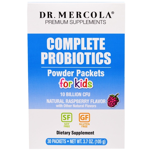 Dr. Mercola, Complete Probiotics Powder Packets for Kids, Natural Raspberry Flavor, 30 Packets, 0.12 oz (3.5 g) Each