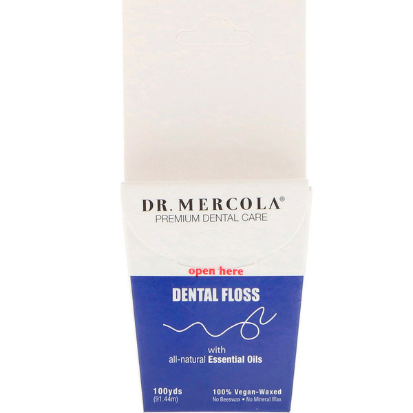 Dr. Mercola, Premium Dental Care, Dental Floss, 100% Vegan-Waxed, 100 yds (91.44 m) (Discontinued Item)