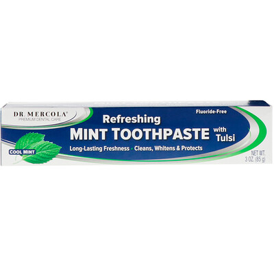 Купить Dr. Mercola Refreshing Mint Toothpaste with Tulsi, Fluoride-Free, Cool Mint, 3 oz (85 g)