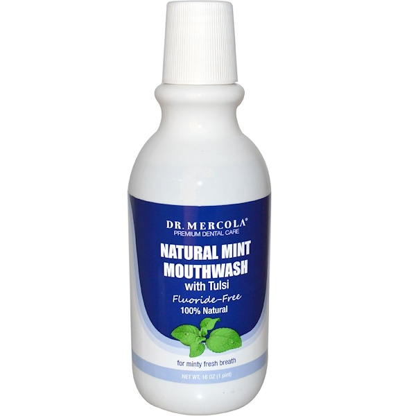 Dr. Mercola, Premium Dental Care, Natural Mint Mouthwash, with Tulsi, Fluoride-Free, 16 oz (Discontinued Item)