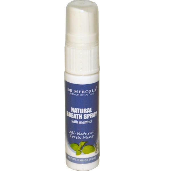 Dr. Mercola, Natural Breath Spray, All Natural Fresh Mint, 0.44 oz (13 ml) (Discontinued Item)