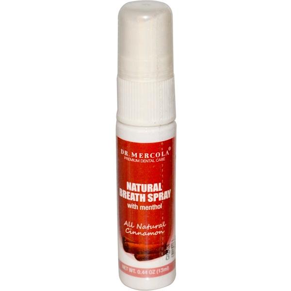 Dr. Mercola, Natural Breath Spray, All Natural Cinnamon, 0.44 oz (13 ml) (Discontinued Item)